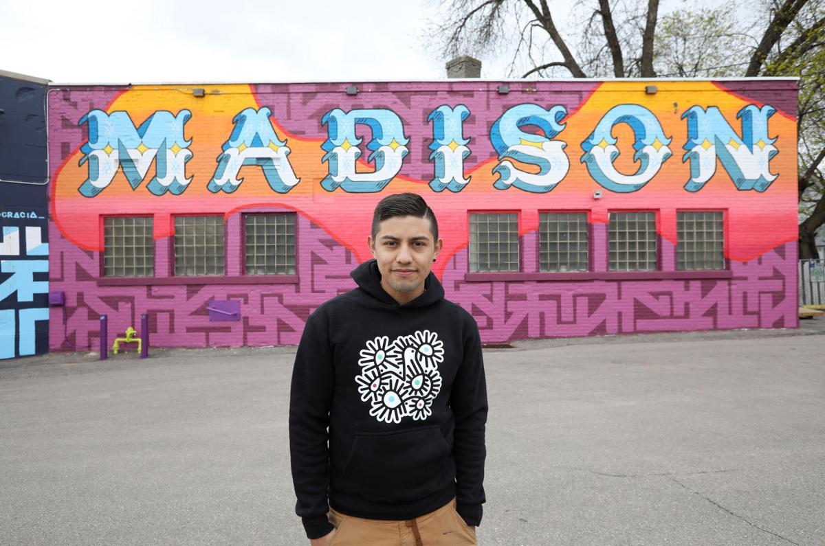 Liubov Szwako with Madison mural