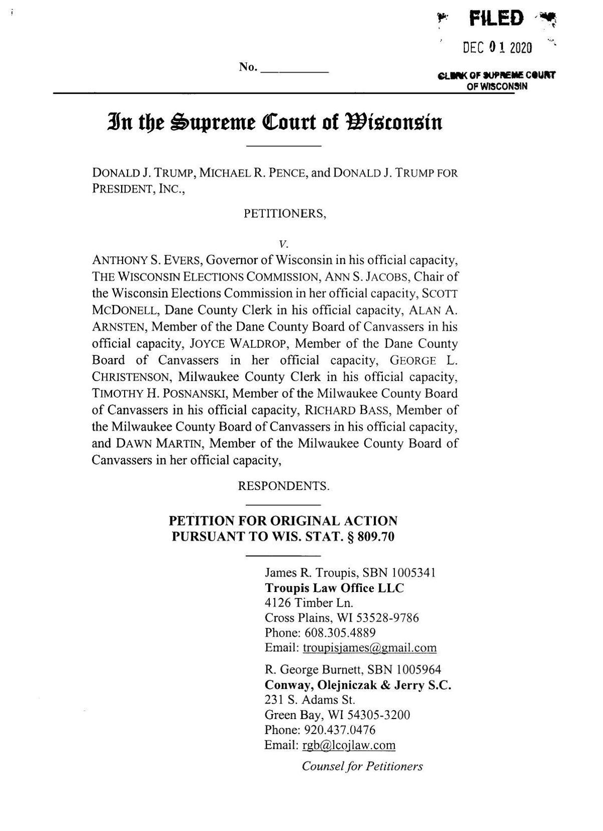 Read the complaint: Trump v. Evers