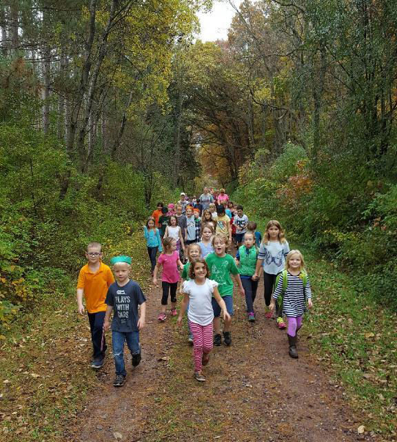 Students visit the woods