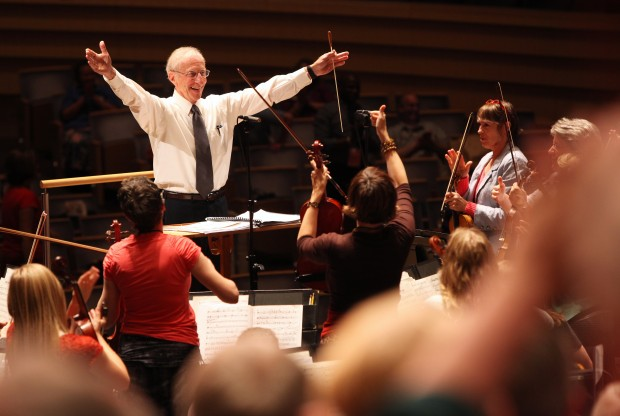 Ron Rockow rehearses with the Mormon Tabernacle Choir
