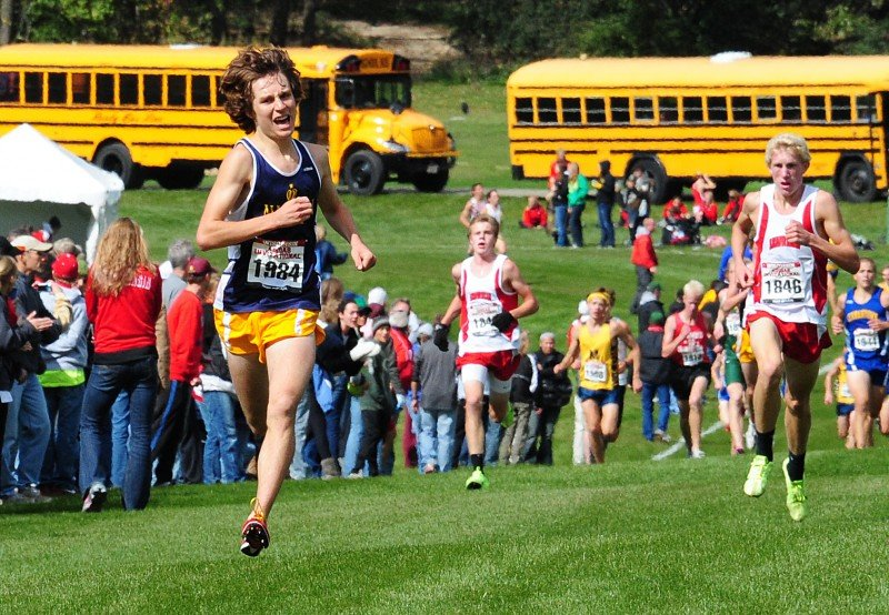 4a671defea771 Madison West High School s Sam Hacker on his way to a first-place finish in  15 44.5 at the Adidas Invitational Cross Country Championships Oct. 2
