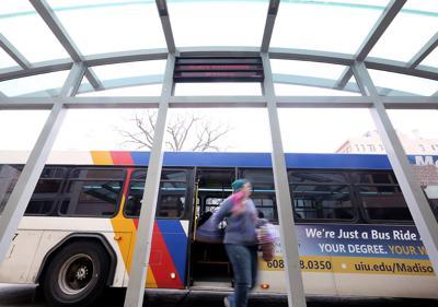 Metro transit bus at shelter