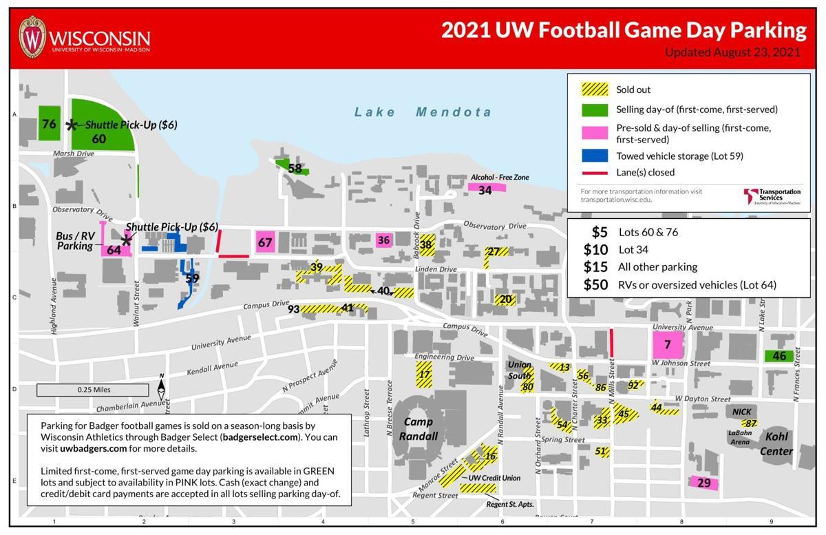Wisconsin football parking map