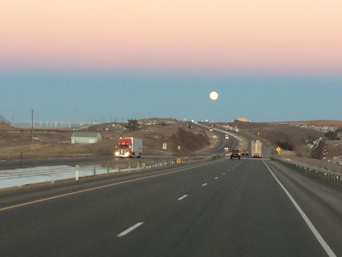 Moonrise near Cheyenne, Wyoming