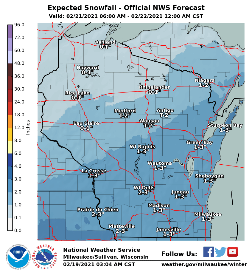 Expected snow totals by National Weather Service