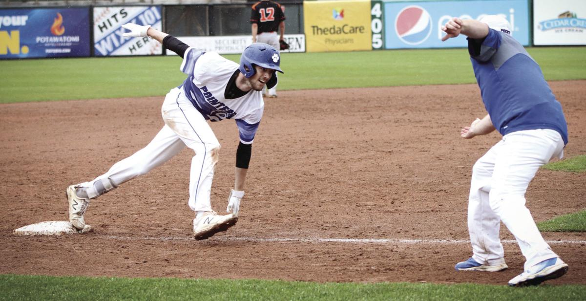 WIAA state baseball photo: Mineral Point's Liam Stumpf celebrates after a two-run triple