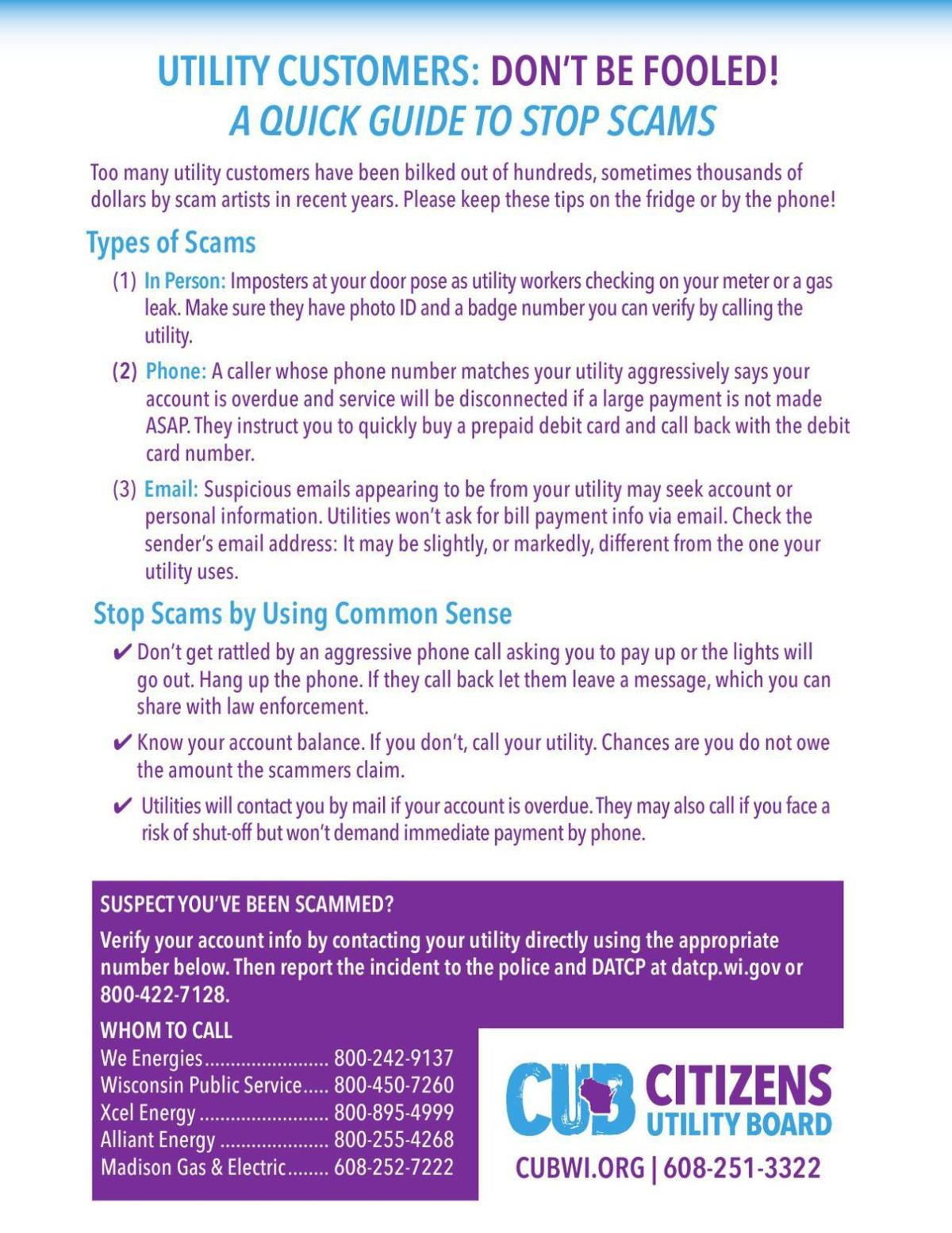 CUB anti-scam guide for utility customers