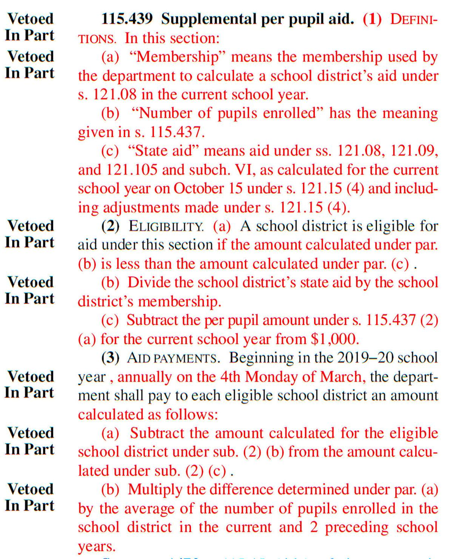 Supplemental student aid veto