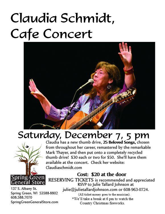 Claudia Schmidt performs at the General Store, Saturday, Dec. 7th, starting at 5 pm