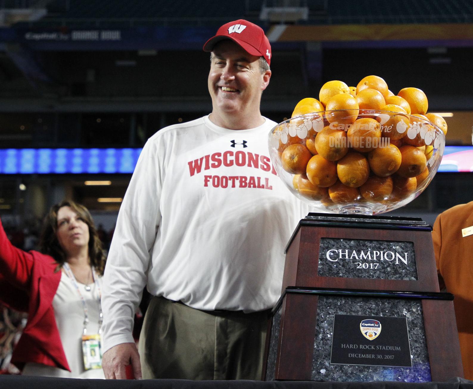 Paul Chryst, Orange Bowl trophy, AP photo