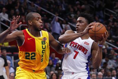 c003340da48d Bucks Pistons Basketball. Milwaukee Bucks forward Khris Middleton ...