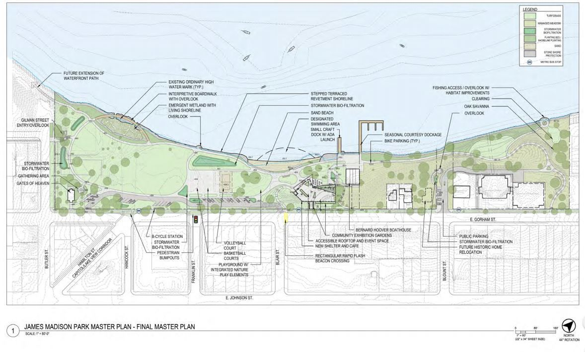 James Madison Park master plan diagram