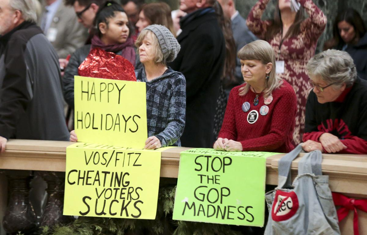 Protesters heckle Scott Walker during lighting of Christmas tree (copy)