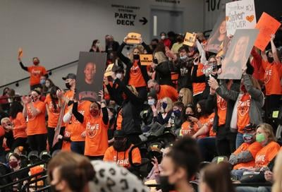 WIAA state girls basketball photo: Verona fans fill the stands at Menominee Nation Arena in Oshkosh (copy)