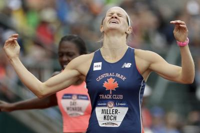 Heather Miller-Koch at Olympic trials, AP photo