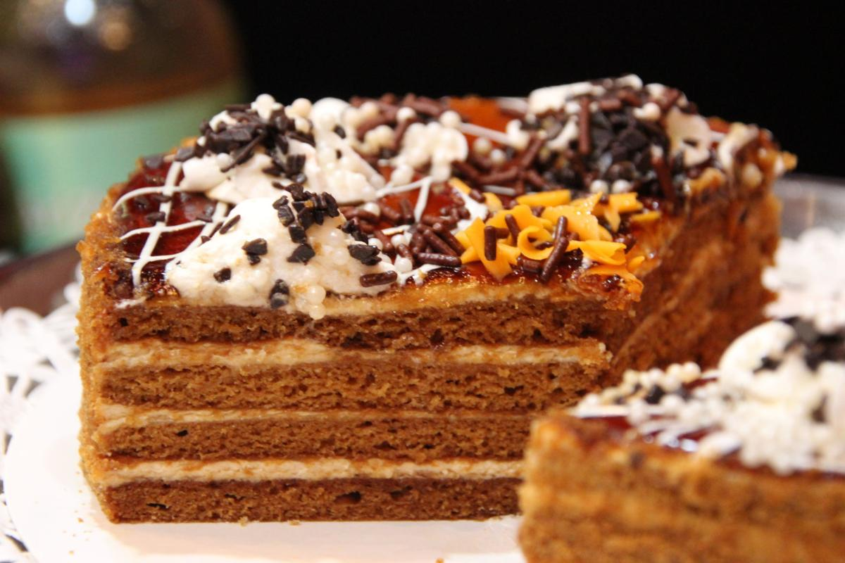 Caspian Grill co-owner Irene Gelfand's _Dessert of the Day_ 4-layered honey cake with frosted filling .JPG