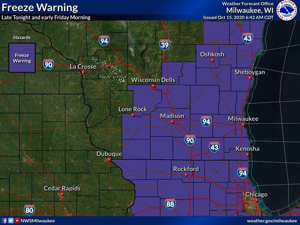 Freeze warning by National Weather Service