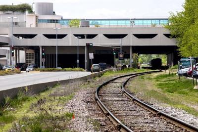 Railroad tracks at Monona Terrace