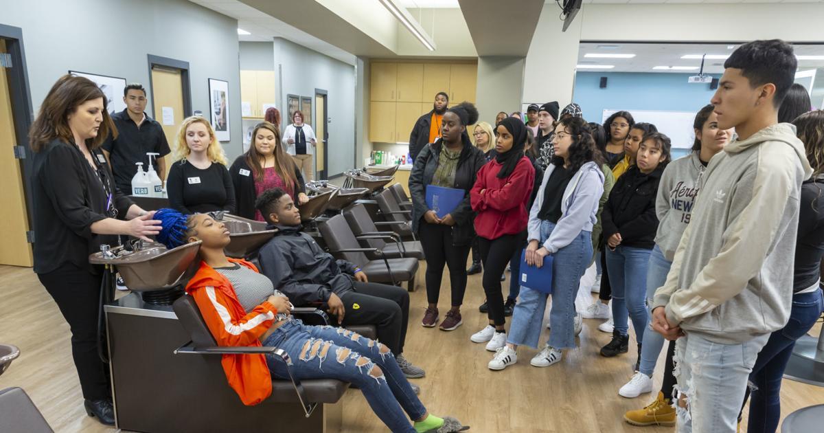 Verona High School students exploring cosmetology career