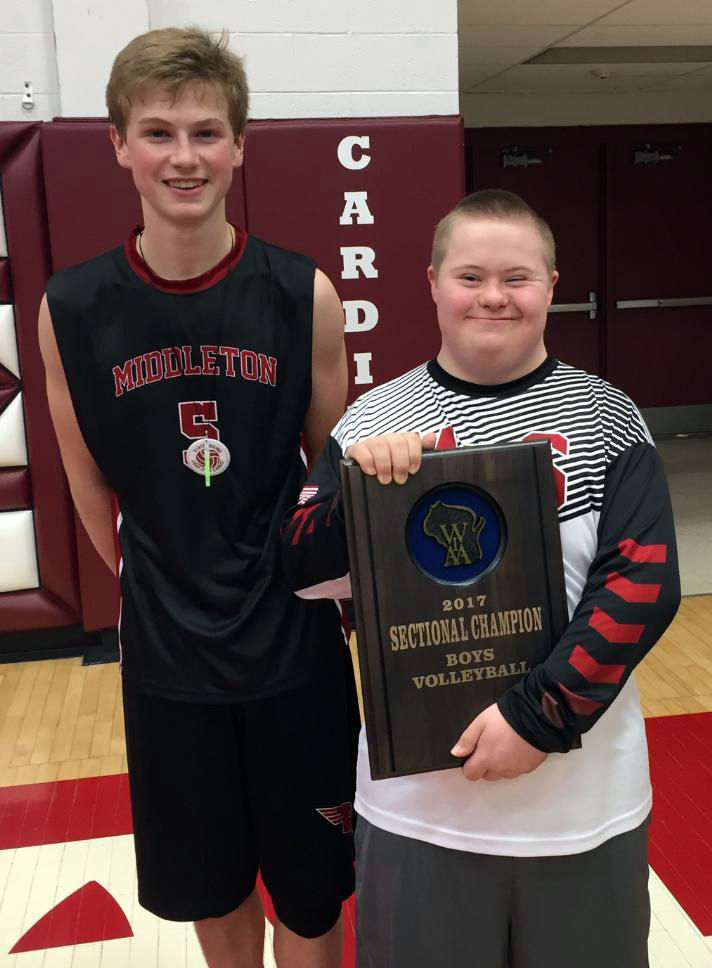 WIAA boys volleyball photo: Andrew and Mattie LePage celebrate a trip to the state tournament