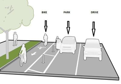 Madison's first parking-protected bike lane