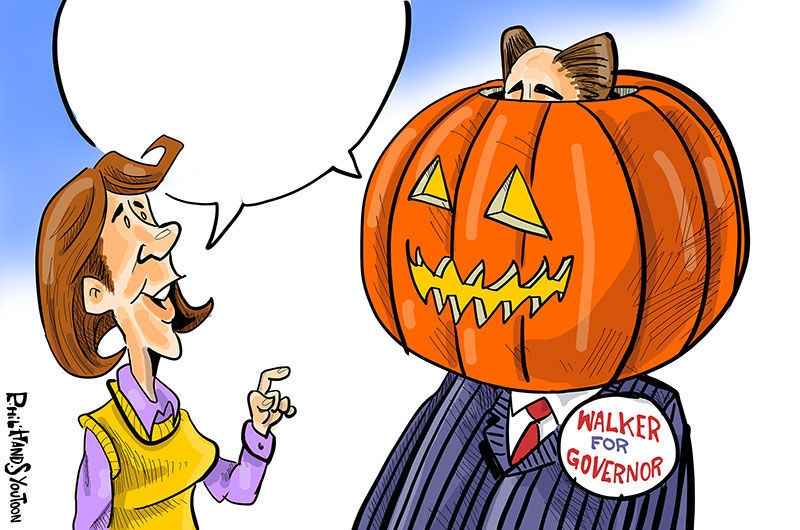 walker wears a jack o latern in this week s contest opinion