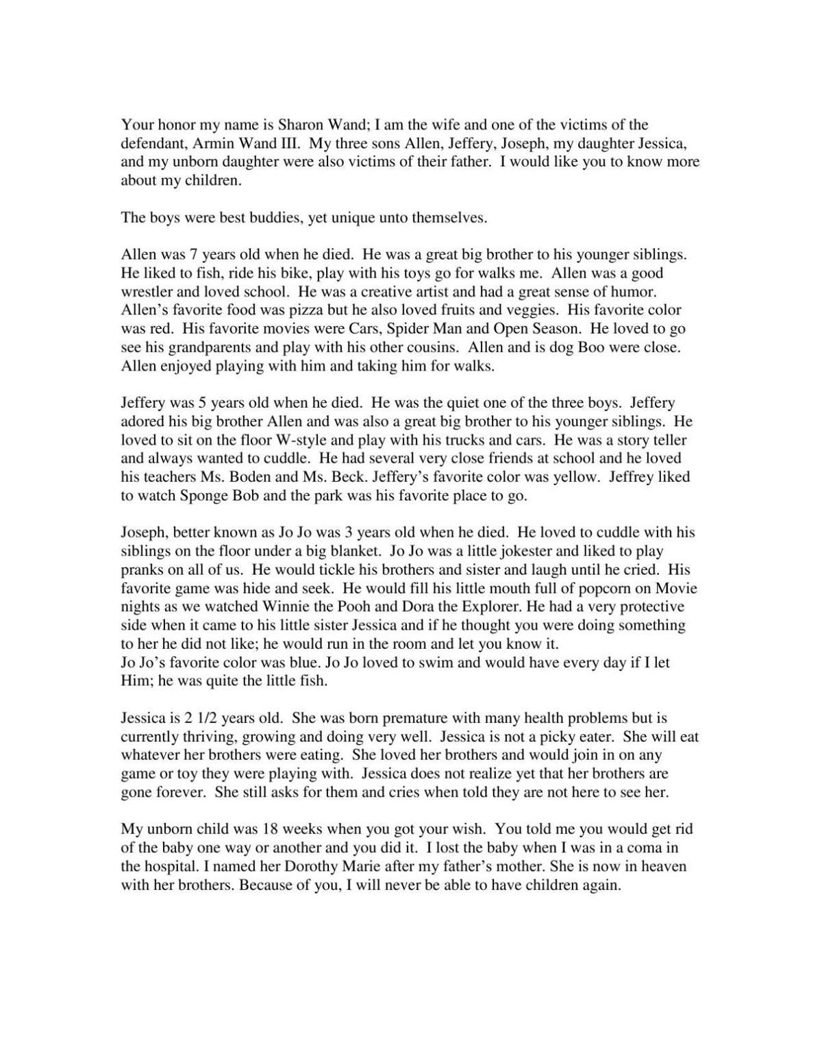 sharon wand victim impact statement