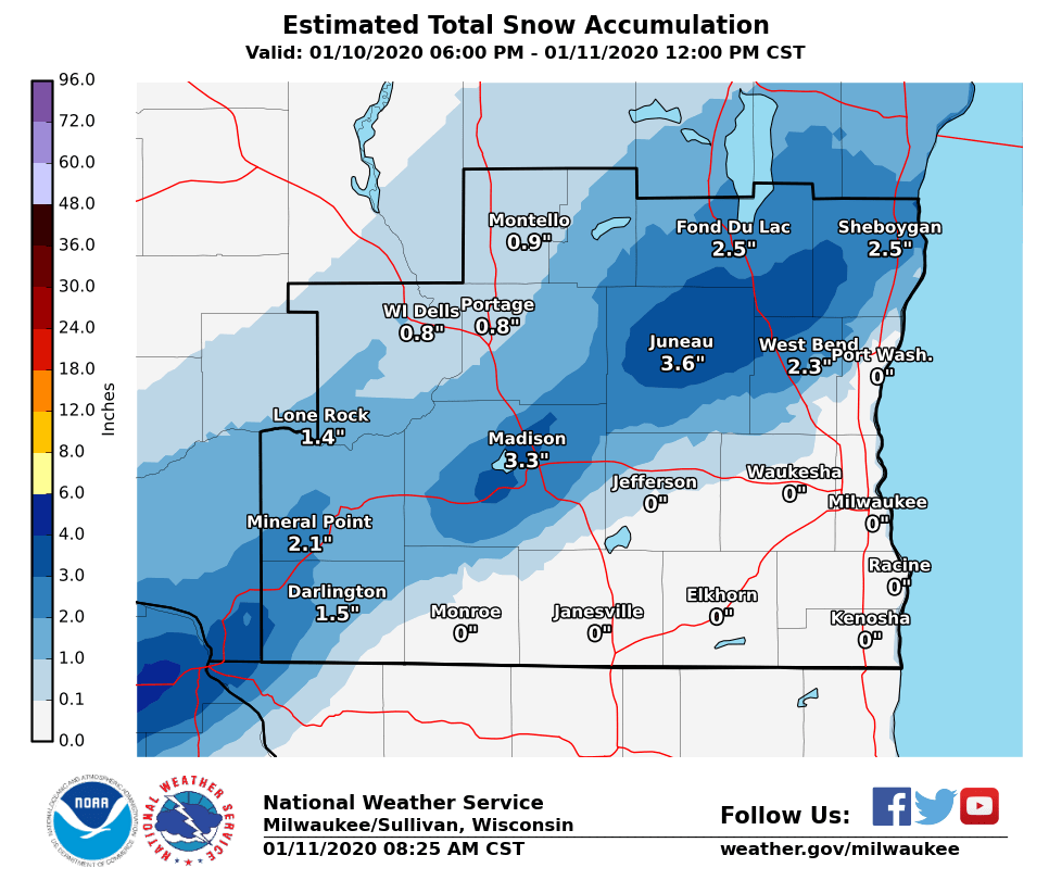 Snow totals overnight by National Weather Service