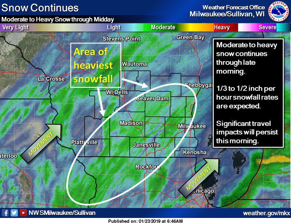 National Weather Service snow radar image, 1-22-19