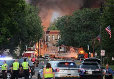 Fire burns in downtown Sun Prairie after a gas leak explosion
