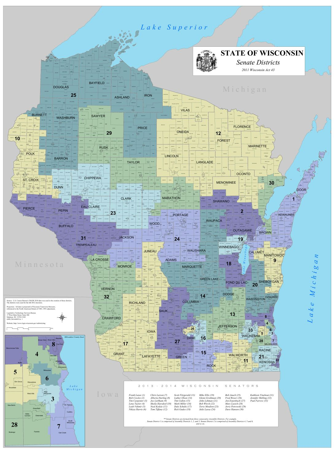 Senators By State Map.Map Actual State Senate Districts Madison Com