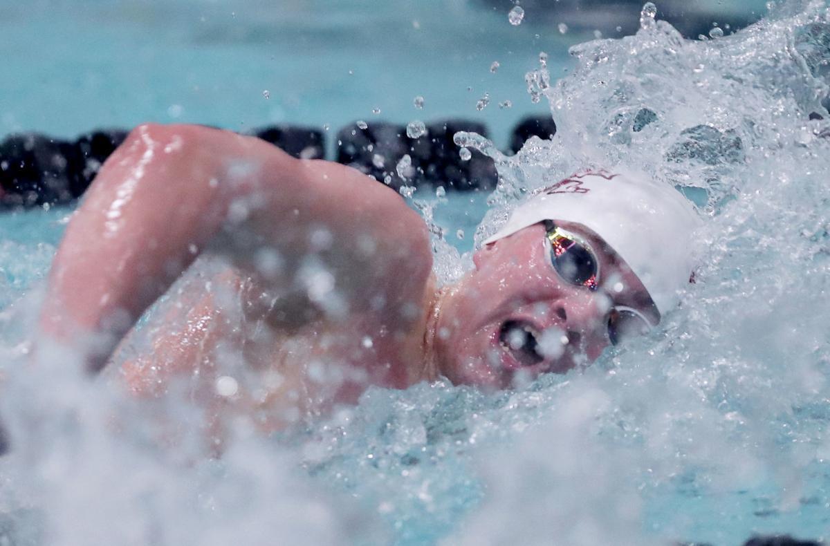 WIAA state boys swimming photo: Truman teDuits in 2018