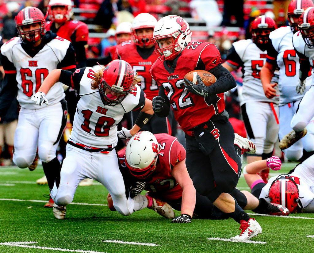 WIAA state football: Black Hawk's Rece Shelton, Nick Whitcomb on the defense.