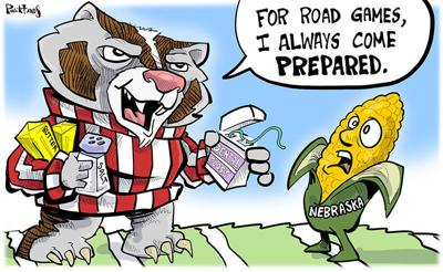 Bucky prepares for the corn huskers