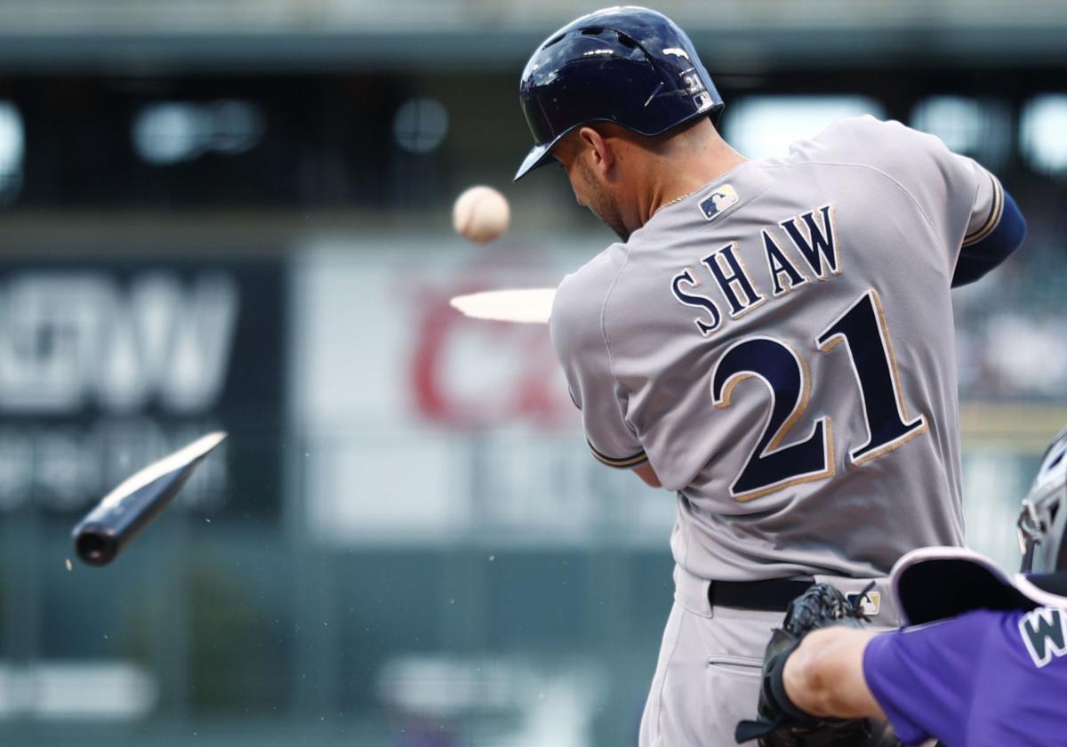 Travis Shaw breaks bat