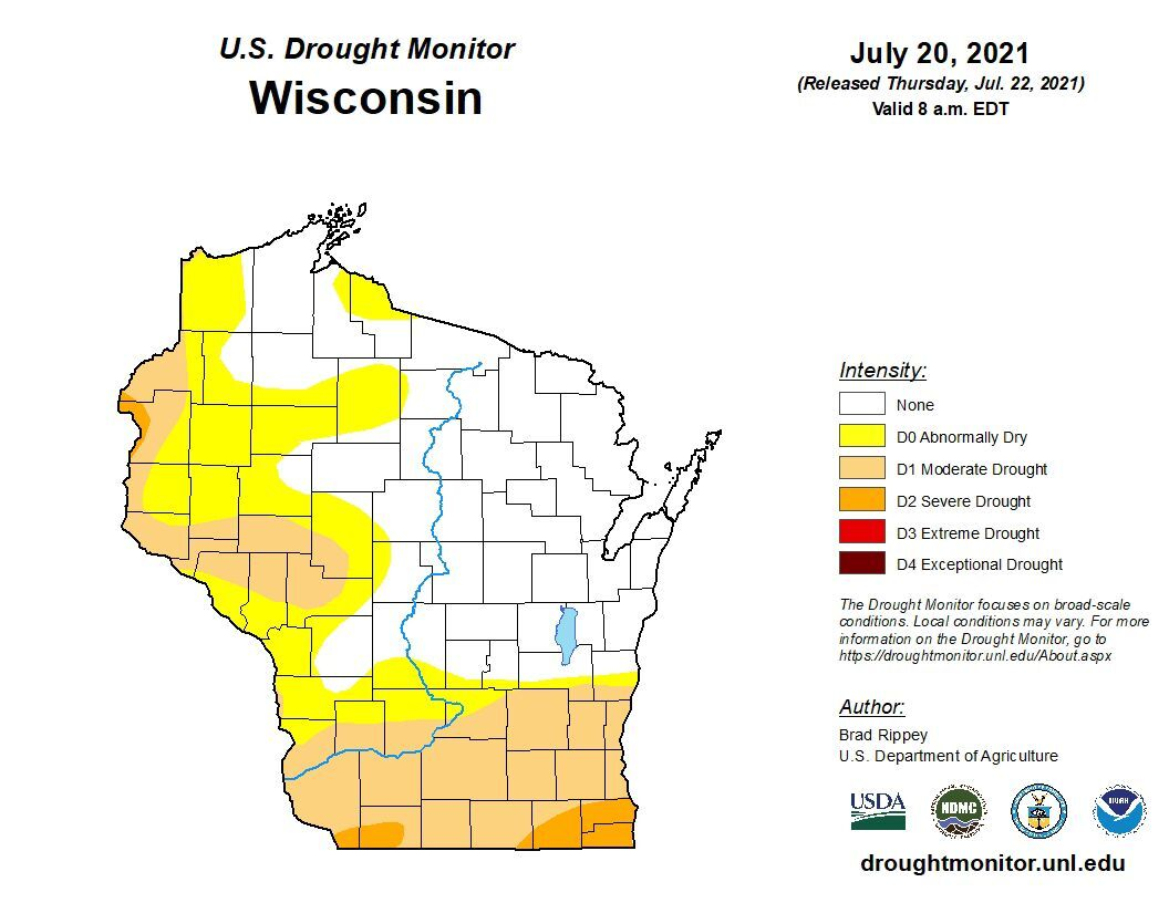 Wisconsin drought monitor as of 7-20-21