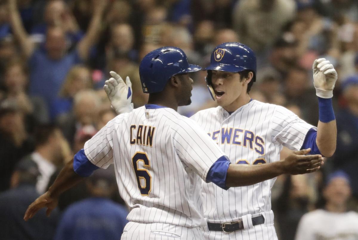 Cain, Yelich celebrate