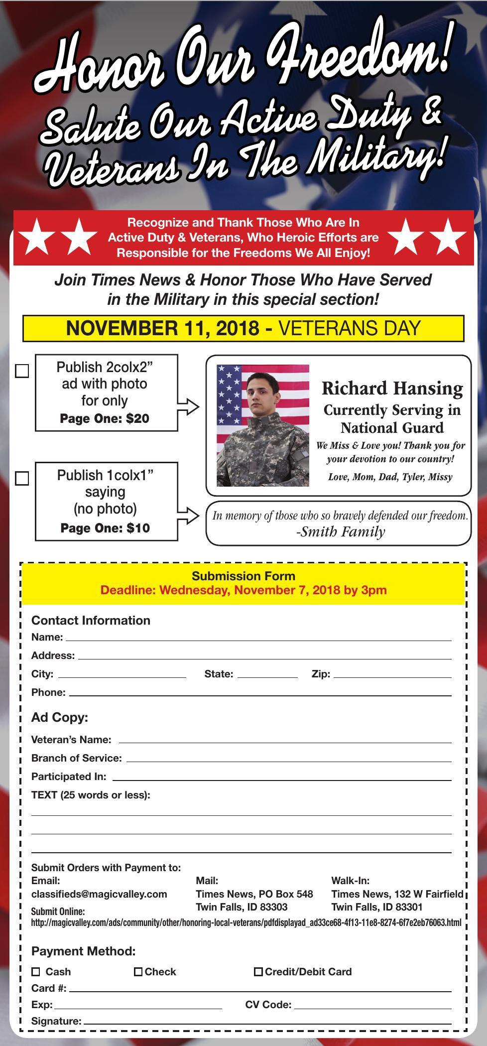 Veterans Day Honoring Vets