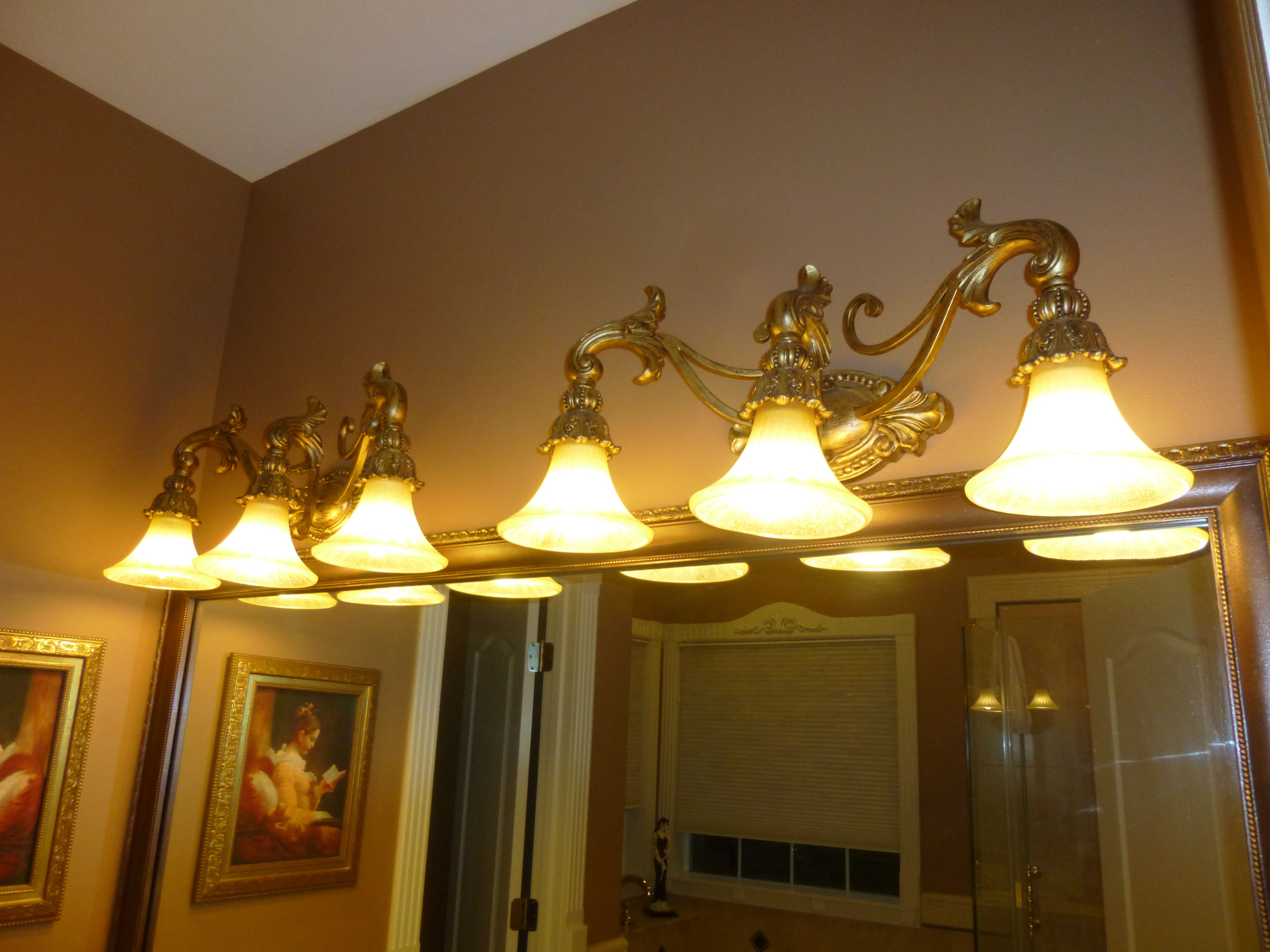 Gorgeous set of two Gold Tuscan-Style Vanity Lights image 1