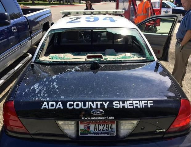 A late-night collision with a cow broke out the rear window of an Ada County patrol car as well as damaging the front end and windshield.