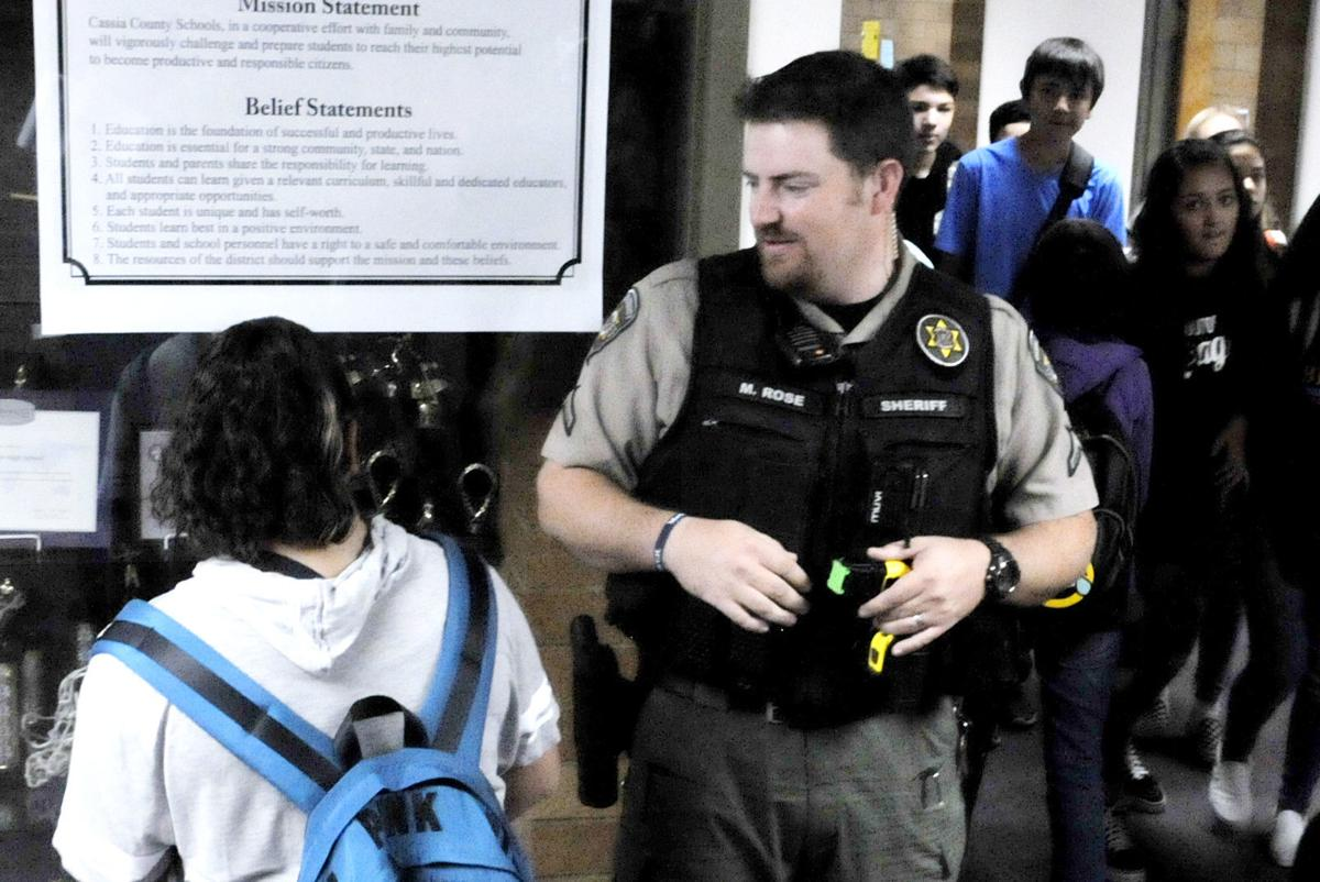 Resource officer in the hall