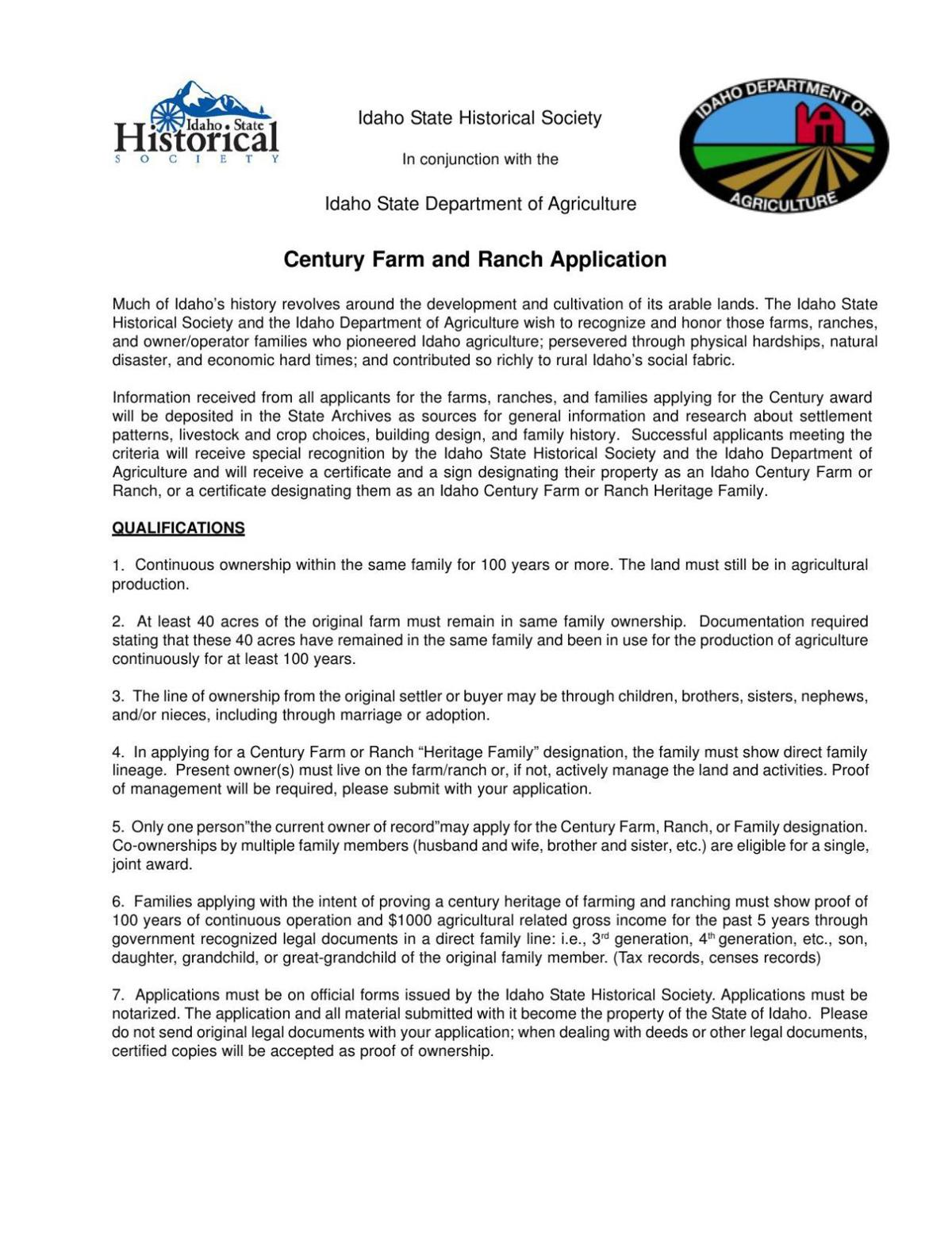 Century Farm and Ranch application