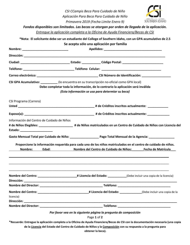 CSI childcare scholarship application - Spanish