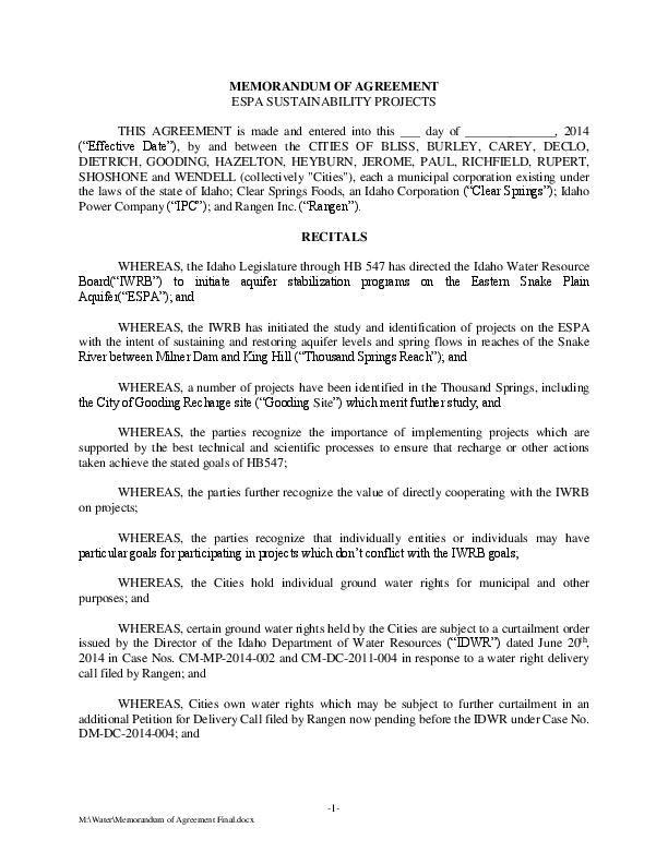 Memorandum Of Agreement Magicvalley