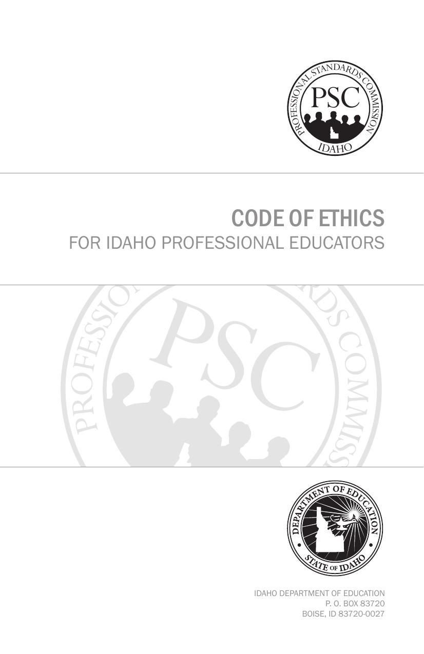 Idaho code for professional educators