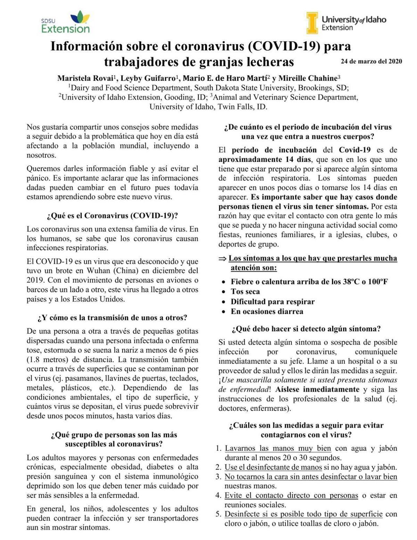 Información sobre el coronavirus (COVID-19) para trabajadores de granjas lecheras