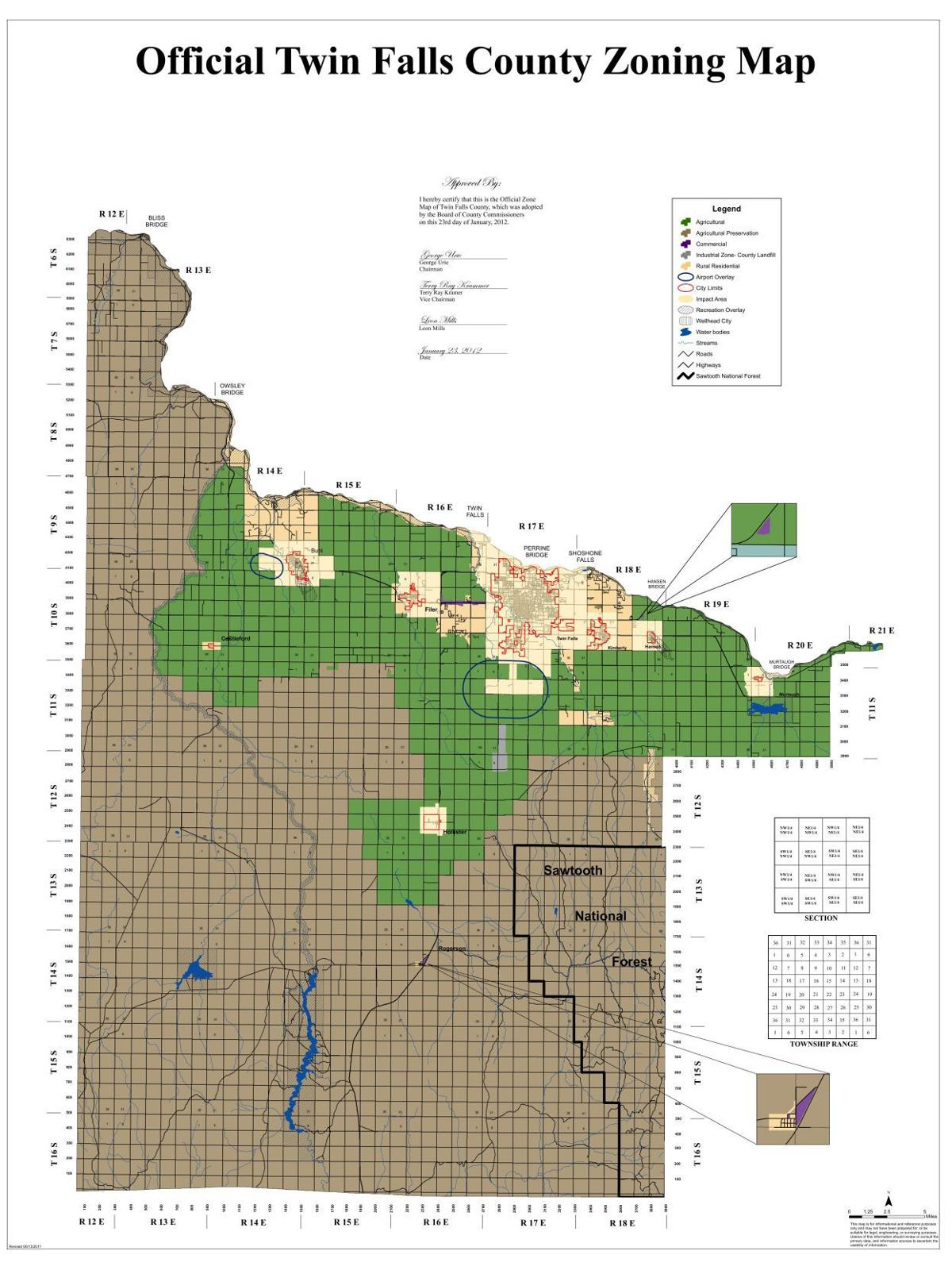 Twin Falls County Zoning Map
