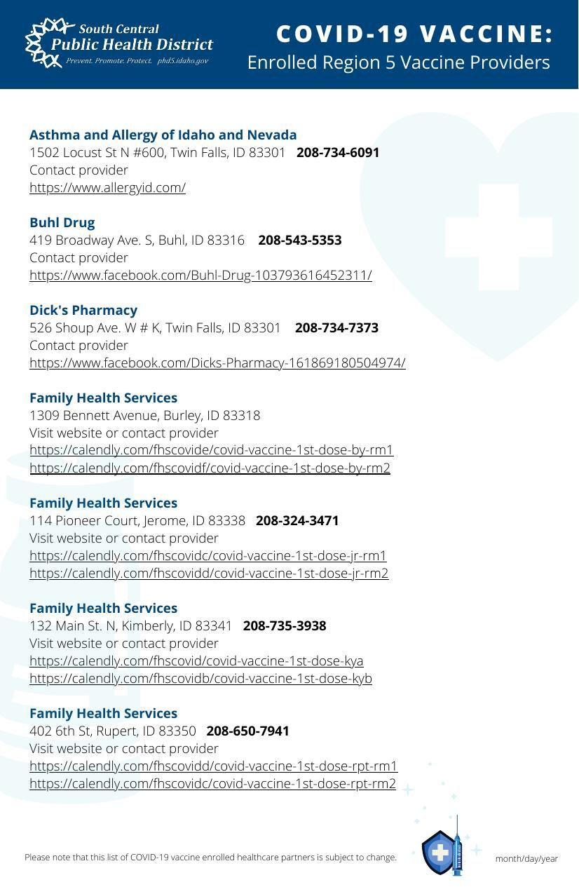 Vaccine provider list