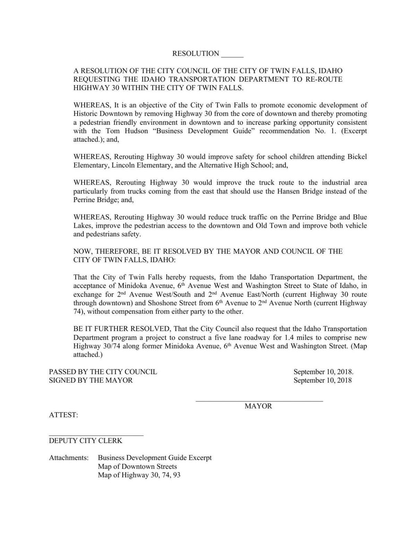 Draft resolution on U.S. 30 reroute