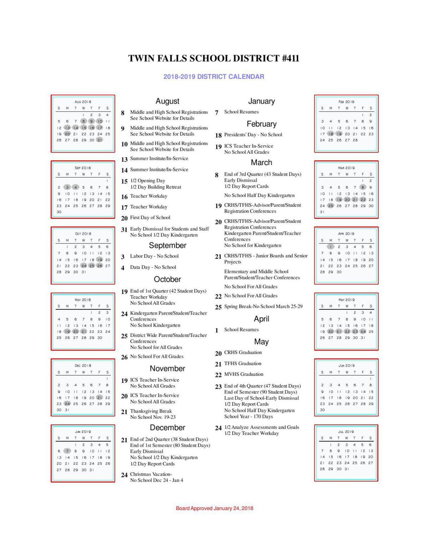 Twin Falls School District 2018-19 school year calendar